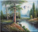 Trees, Peaceful Stream and Snow Mountain Oil Painting Landscape River Naturalism 20 x 24 inches