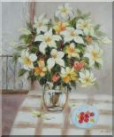 Flower in Vase with Cherry Dish On Table Oil Painting Still Life Bouquet Naturalism 24 x 20 inches