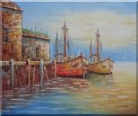 Fishing Village With Boats, Seagulls Oil Painting Naturalism 20 x 24 inches