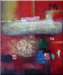 Red Abstract Oil Painting Nonobjective Modern 24 x 20 inches