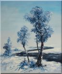A Winding River Passing through Snow Covered Landscape Oil Painting Tree Naturalism 24 x 20 inches