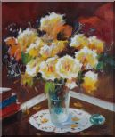Beautiful Yellow Roses in Vase on Table Oil Painting Flower Still Life Bouquet Impressionism 24 x 20 inches