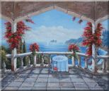 Outlook of Mediterranean from a Patio with Red Flower Oil Painting Naturalism 20 x 24 inches