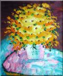 Knife Painted Yellow Flowers Oil Painting Still Life Bouquet Impressionism 24 x 20 inches