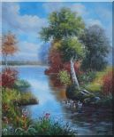 Ducks Playing in a Beautiful Lake Oil Painting Landscape River Animal Bird Naturalism 24 x 20 inches