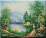 Quiet Lake Scenery in Eary Spring Oil Painting Landscape River Naturalism 20 x 24 inches