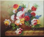 Colorful Flowers in Basket Oil Painting Still Life Bouquet Classic 20 x 24 inches