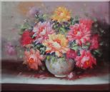 Large Red, Yellow, Pink Peonies in a White Ceramic Vase Oil Painting Flower Still Life Bouquet Classic 20 x 24 inches