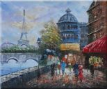People Walk on Seine Riverside with Eiffel Tower in View Oil Painting Cityscape France Impressionism 20 x 24 inches