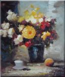 Afternoon Break with Roses and Daisies Flowers Oil Painting Still Life Bouquet Impressionism 24 x 20 inches