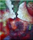 Green, Red and Purple Abstract Oil Painting Nonobjective Modern 24 x 20 inches
