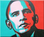 President Barack Obama Oil Painting Portraits Celebrity America Politician Pop Art 20 x 24 inches