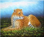Sitting Tiger in Wild Oil Painting Animal Naturalism 20 x 24 inches
