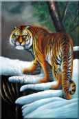 Walking Tiger in White Snow Field Oil Painting Animal Naturalism 36 x 24 inches
