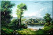 Riverside Green Field Oil Painting Landscape Classic 24 x 36 inches