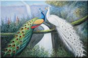 White and Blue Peacocks on Old Tree Oil Painting Animal Naturalism 24 x 36 inches