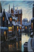 Small Boats On Winter Water Street at Dusk in Bruges, Belgium Oil Painting Village Classic 36 x 24 inches