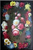 Still Life of Flowers Wreath Oil Painting Bouquet Classic 36 x 24 inches