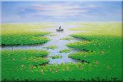 Farmer Working in Lotus Field in the Morning Oil Painting Landscape River Autumn Modern 24 x 36 inches