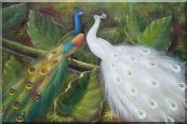 Pair of Peacocks on Tree Oil Painting Animal Naturalism 24 x 36 inches
