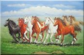 Eight Joyful Running Horses in Green Field Oil Painting Animal Naturalism 24 x 36 inches
