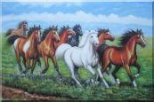 Eight Horses Oil Painting Animal Naturalism 24 x 36 inches