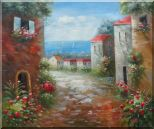 Flower Path to Seaside Oil Painting Mediterranean Impressionism 20 x 24 inches