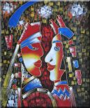 Lovers, Picasso Reproduction Oil Painting Portraits Couple Modern Cubism 24 x 20 inches