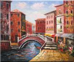 Venice Canal Bridge With Pretty Flowers Oil Painting Italy Naturalism 20 x 24 inches