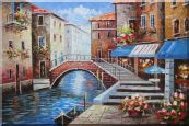 Bridge, Parking Boat and Flower Street of Venice Oil Painting Italy Naturalism 24 x 36 inches