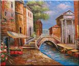 Bridge Across Venice Street Oil Painting Italy Naturalism 20 x 24 inches
