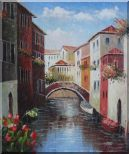 Boats Docked On Canal, Venice, Italy Oil Painting Impressionism 24 x 20 inches