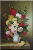 Bouquet of Flowers Autumn in White Vase Oil Painting Still Life Classic 36 x 24 inches
