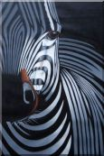 Black and White Zebra II Oil Painting Animal Decorative 36 x 24 inches