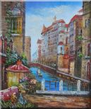 Pleasant Venice Garden And Canal At Noon Oil Painting Italy Impressionism 24 x 20 inches
