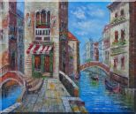 Cafeteria Along Two Water Streets with Bridges in Venice Oil Painting Italy Naturalism 20 x 24 inches