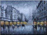 Black and White Paris Street and Eiffel Tower with Yellow Light  Oil Painting  36 x 48 inches