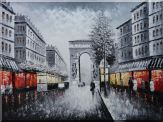 Black and White Paris Arc de Triumphe Oil Painting Cityscape France Impressionism 36 x 48 inches