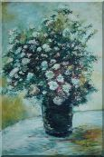 Light Color Chrysanthemum in Vase Oil Painting Flower Still Life Daisy Impressionism 36 x 24 inches