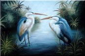 Pair of Great Blue Herons in Lake Oil Painting Animal Bird Naturalism 24 x 36 inches
