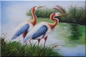 Pair of Blue Great Herons Oil Painting Animal Bird Naturalism 24 x 36 inches
