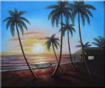 Hawaii Retreat with Palm Trees on Sunset  Oil Painting  20 x 24 inches