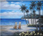 Two Chairs at the Hawaii Beach with Palm Trees Oil Painting Seascape America Naturalism 20 x 24 inches
