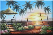 Hawaii Straw Hut with Palm Trees on Sunset Oil Painting