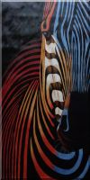 Colorful Modern Zebra I Oil Painting  48 x 24 inches