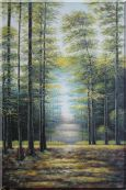 Genial Sunshine over Road in Peaceful Forest Oil Painting Landscape Tree Classic 36 x 24 inches