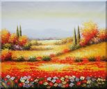 Tuscan Poppies And Cypress  Oil Painting  20 x 24 inches