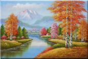 River and Yellow Birch Forest In Fall Oil Painting Landscape Tree Autumn Naturalism 24 x 36 inches