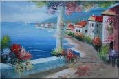 Romantic Flower-Covered Pillar and Terrace near Mediterranean Coastal Village Oil Painting Naturalism 24 x 36 inches