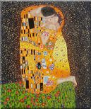 The Kiss, Gustav Klimt Replica Oil Painting Portraits Couple Modern 24 x 20 inches